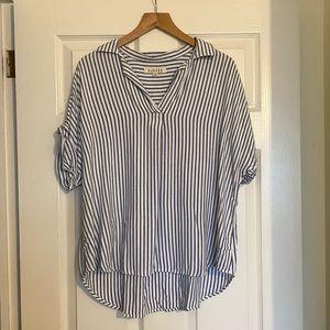 Francescas's Harper Striped Collard Shirt M